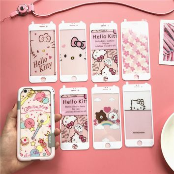 For iPhone 8 8plus Walnutt Bumper + Front &back Glass screen protector Hello Kitty Sailor Moon flim for iPhone 6 6S Plus 7 7Plus