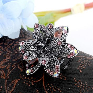 Vintage Flower Crystal Hair Claws Clip Rhinestone Hairpin Hair Jewelry Charm Hair Accessories For Women