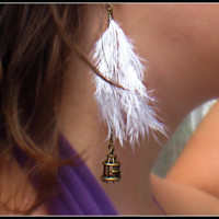 feather bird cage earrings <3