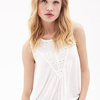 FOREVER 21 Pleated Lace Knit top Cream