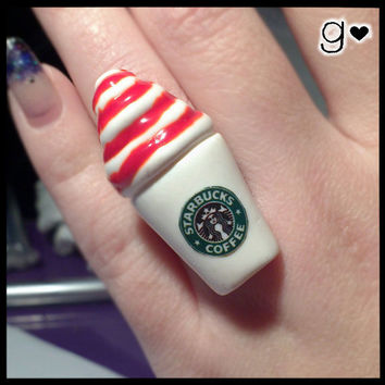 Starbucks Inspired Ring - Strawberry - Kawaii - Polymer Clay Ring - Miniature Jewelry - Starbucks - Coffee - Miniature Ring - Drink Ring