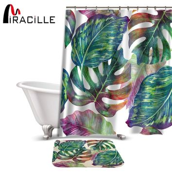 Miracille Creative Green Tropical Plant Printed Shower Curtain Set Waterproof Polyester Fabric Curtain and Anti-slip Bath Mat