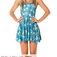 New Cute Gameboy Cartoon Sleeveless Skater Dress Spring and Summer Cloth KK685