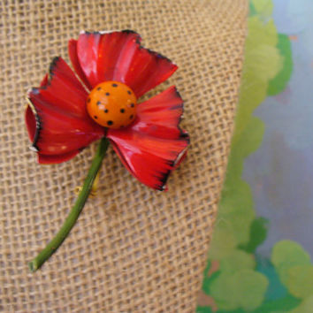 1960s Vintage Brooch - enamel red flower blossom pin, sculptural floral design, Original by Robert