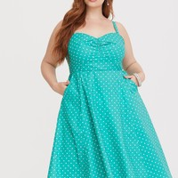 Retro Chic Mint Dotted Skater Dress