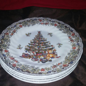"A Set of Four Queen's Myott Collectible Seasons Greetings 8"" Christmas Tree Dessert Plate"