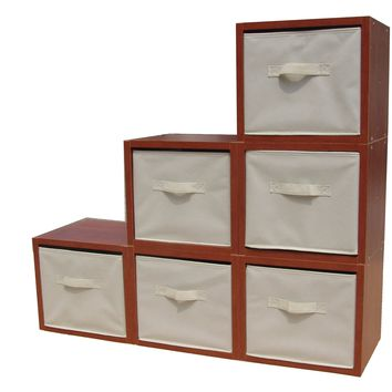 Storage, Modular Wood Blocks with Fabric Bins 6/Set 11364
