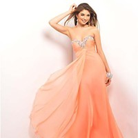 Coral Ruched Chiffon Strapless Prom Dress - Unique Vintage - Cocktail, Pinup, Holiday & Prom Dresses.