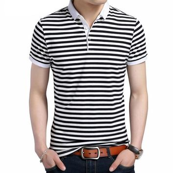 Men's Striped Turn-Down Collar Tee Shirt