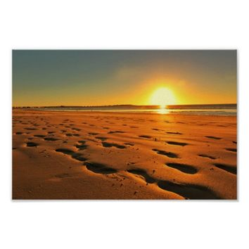 Beach Seaside Ocean Sunset Sundown Sand Poster