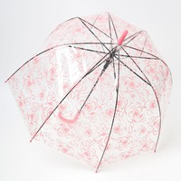 Clear & Pink Rose Floral Automatic Bubble Umbrella