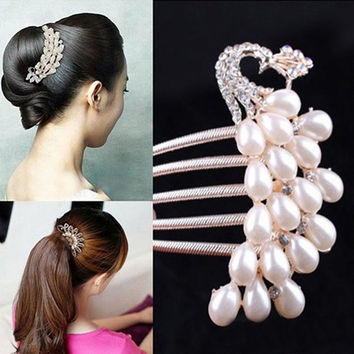 Crystal Rhinestone Pearls Hairpin Flower Diamante Hair Clip Comb Wedding Jewelry = 1706174596