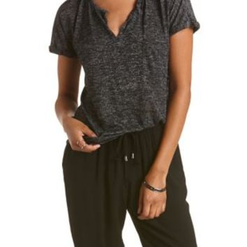 Black Sweater Knit Notched Pocket Tee by Charlotte Russe