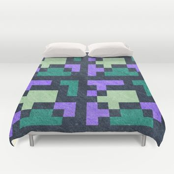 Violet Green Blocks Pixel Pattern Duvet Cover by Likelikes | Society6