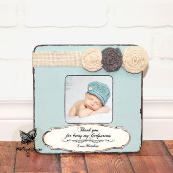 Godmother Gift, Godfather Gift, Godparent Gift, Baptism Gift for Godparents, Baptism Gift, Christening Gift, Godparent Frame Burlap Flower