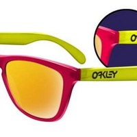 Oakley Frogskins Collectors Editions Blacklight Pink Yellow 24K Iridium Sunglasses