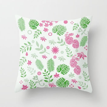 Decorative Throw Pillow - Different sizes to choose from, With, Without, Inserts, Indoors, Outdoors, Square, Green, Leaves, Pattern, Classic