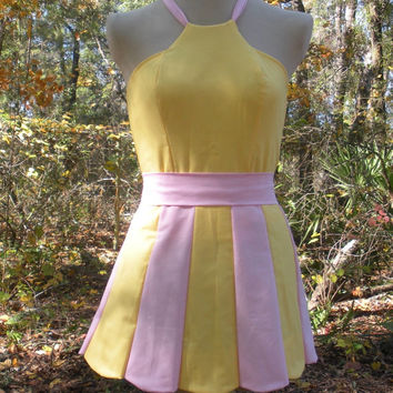 Pastel Scalloped Mini Dress in Fluttershy My Little Pony Colors - MLP Fluttershy Pink and Yellow Halter Dress