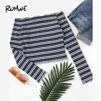 ROMWE Lettuce Trim Striped Knit Multicolor Tee Ladies Off the Shoulder Long Sleeve Tops 2018 Autumn Women Clothing Party T Shirt