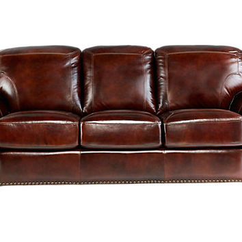 Brockett Brown Leather Sofa