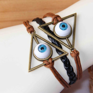 Deathly Hallows bracelet evil eye bracelet cotton wax cord PU braids multilayer personalized gift trending bridesmaid friendship love gifts