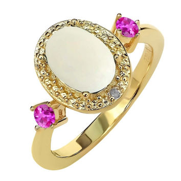 1.22 Ct Cabochon White Opal Pink Sapphire 18K Yellow Gold Plated Silver Ring