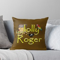 'Pirate Talk Text - Jolly Roger ' Throw Pillow by Gravityx9
