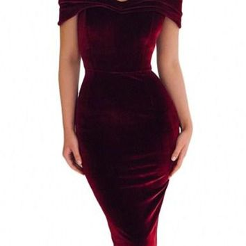 Burgundy Off Shoulder Ruched Bodycon Velvet Party Dress
