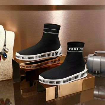 Prada Miu Miu Knit High Top Sneakers Black - Best Deal Online