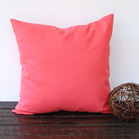 "Coral throw pillow cover One 20"" x 20"" cushion cover coral pillow covers modern minimalist decor"