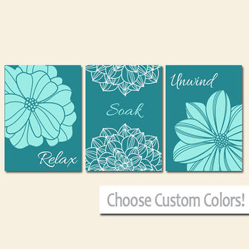 BATHROOM DECOR Wall Art Canvas or Print Flower Home Bathroom Pictures Teal Aqua Relax Soak Unwind Quote Words Flower Artwork Set of 3
