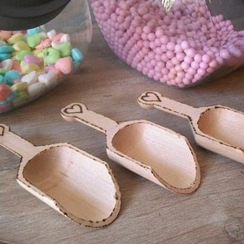 3 Wooden Scoops ... Wood Burned with hearts .... WEDDING Candy Buffet ...