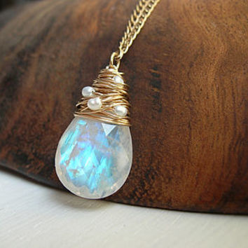Moonstone Necklace With Freshwater Pearls