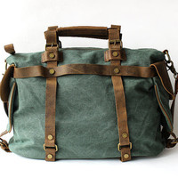 "16"" vintage retro canvas real genuine leather weekend weekender shoulder bag Duffle Travel tote bag"