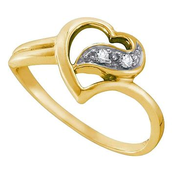 10kt Yellow Gold Women's Round Diamond Simple Heart Ring 1/20 Cttw - FREE Shipping (US/CAN)