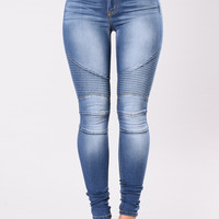 Oliver Moto Jeans - Medium Blue