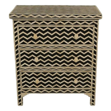 Bone Inlay Furniture - Striped Chevron Modern Three 3 Drawer Dresser Sideboard| Free Shipping