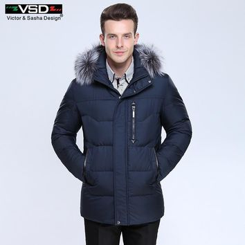 Victor&Sasha Design Thick Warm Winter Leisure Cotton-Padded Down Jacket Men Long Hat Detachable Coat Parkas Genuine Fur Big Size