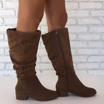 Back For More Suede Slouch Boots in Tan