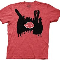 Naruto Akatsuki Silhouettes & Cloud Adult Heather Red T-Shirt