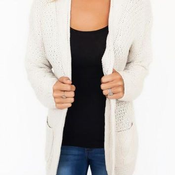New Women White Draped Pockets Long Sleeve Casual Cardigan Sweater
