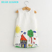 Bear Leader Girls Dresses Brand Autumn&Winter Princess Dress Kids Clothes Graffiti Print Design for Baby Girls Clothes 3-8Y