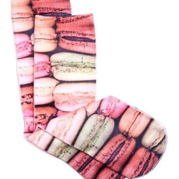 MACAROON PHOTO PRINT CREW SOCKS