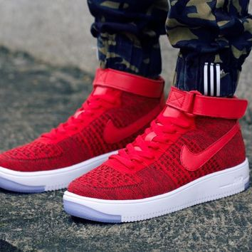 Nike Air Force 1 Flyknit Mid-High 817420-601 Red Women Men Shoes Sneakers