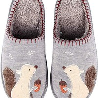 Animal Memory Foam House Slippers Cute Squirrel Indoor Slippers w/Soft Waterproof Sole Fuzzy Clog Slippers