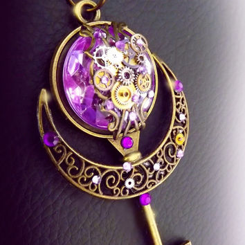 Steampunk necklace, key necklace, steampunk jewelry, watch gear necklace, purple necklace, bronze steampunk key, moon necklace, OOAK