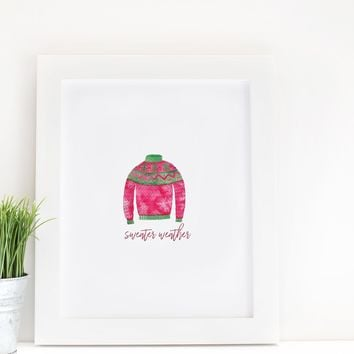 Sweater Weather Watercolor Print