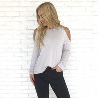 Buttercup Cold Shoulder Sweater Top in Grey