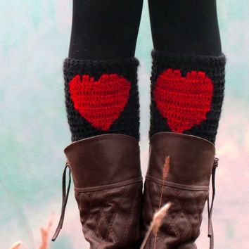 Red Heart Boot Cuffs, Heart Leg Warmers, Crochet Cuffs Heart, Valentine leg warmer, knee high, Red Yoga Socks, Faux Boot Socks, Valentines