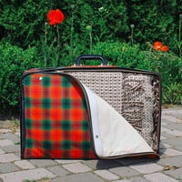 Soviet Collapsible Suitcase / Large Tartan USSR Vintage Canvas Folding Bag, Compact Luggage / Red & Green Plaid Zip Bag, Light Suit Case
